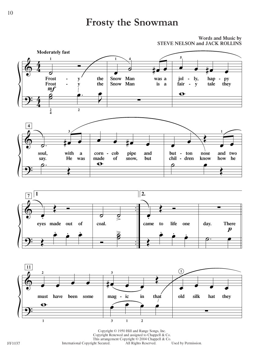 graphic about Frosty the Snowman Sheet Music Free Printable named ShowTime® Piano Xmas