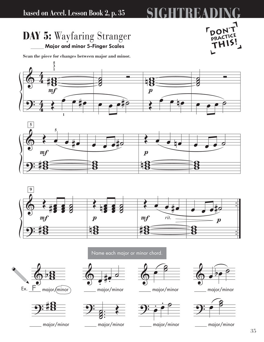 Accelerated Piano Adventures Sightreading Book 2 Faber
